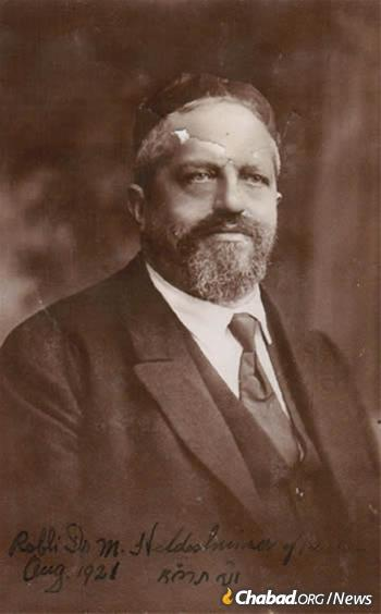 Rabbi Dr. Meir Hildesheimer, photographed in 1921. Hildesheimer was the administrative director of the Berlin Rabbinical Seminary and an influential German Jewish communal leader. He would play a central role in Rabbi Yosef Yitzchak's matzah campaign.