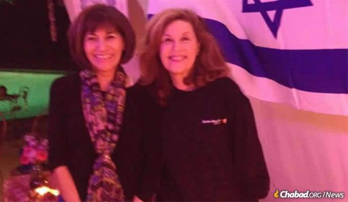 Teresa Lampert with Lori Kaye in the Kaye sukkah