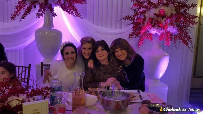 Kaye, second from left, at the wedding of Baila Goldstein, daughter of Rabbi Yisroel and Devorie Goldstein.