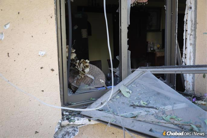 The Agadi home was badly damaged by shrapnel from the rocket that killed Moshe Agadi. (Photo: Noam Rivkin Fenton/Flash90)