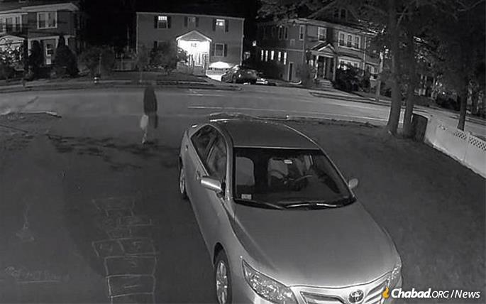 Security-camera footage shows a man that police want to question in connection with a May 11 fire at the Chabad Center for Jewish Life in Arlington, Mass. A second fire was set outside the center, which is also the home of the rabbi and his family, on the following Thursday night, May 16. Another fire was set at a Chabad House in Needham, Mass, also on Thursday night.