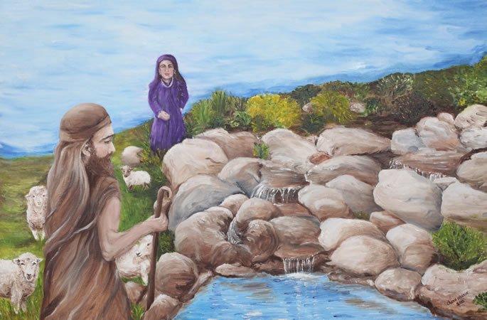 Rabbi Akiva and his wife, Rachel. Art by Chanie Chanin.