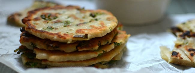 Appetizer: Flakey Scallion Pancakes