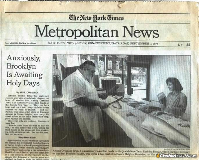 """On the cover of the metro section of """"The New York Times"""" on the eve of Rosh Hashanah, Sept. 7, 1991."""