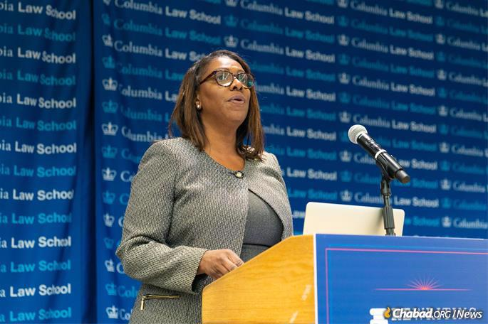 Letitia James, attorney general of the state of New York (Photo: Meir Pliskin/Aleph Institute)