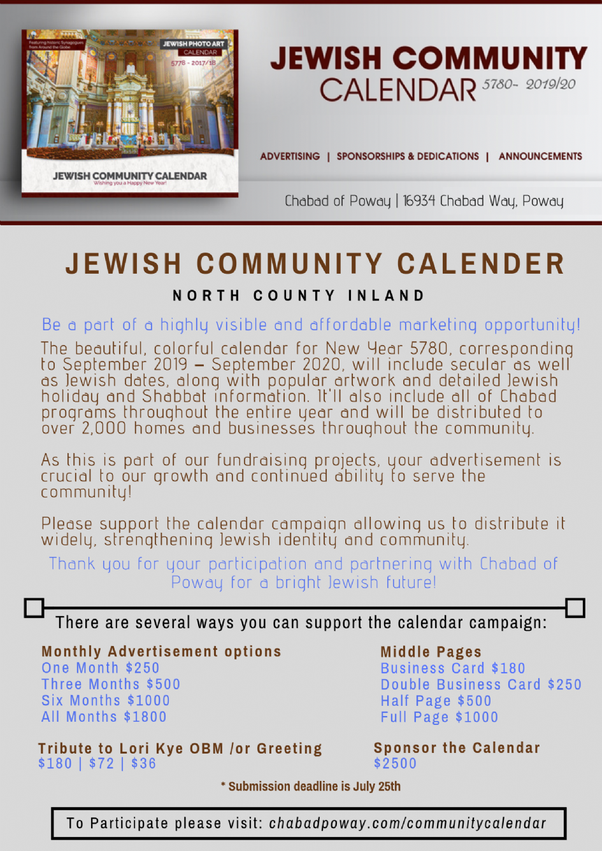 Poway School District Calendar 2020 Jewish Community Calendar 2019/2020   Chabad of Poway