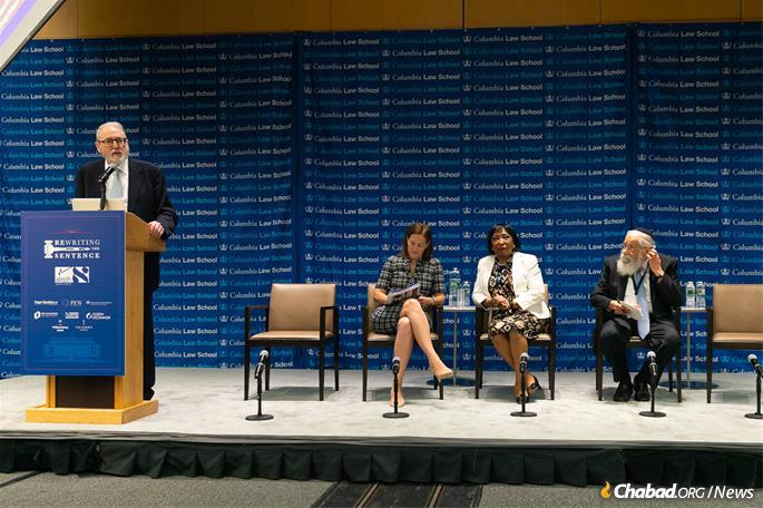 At the summit's opening session are, from left, Aleph's chief counsel Gary Apfel of Pepper Hamilton LLP, who emceed the two days; Rachel Salem Pauley of Columbia Law School; Judge Bernice Donald, U.S. Circuit Court Judge, Sixth Court of Appeals and Rewriting the Sentence 2019 summit chair; and Rabbi Sholom Lipskar, founder of the Aleph Institute and director of the Shul of Bal Harbour in Southeast Florida. (Photo: Meir Pliskin/Aleph Institute)