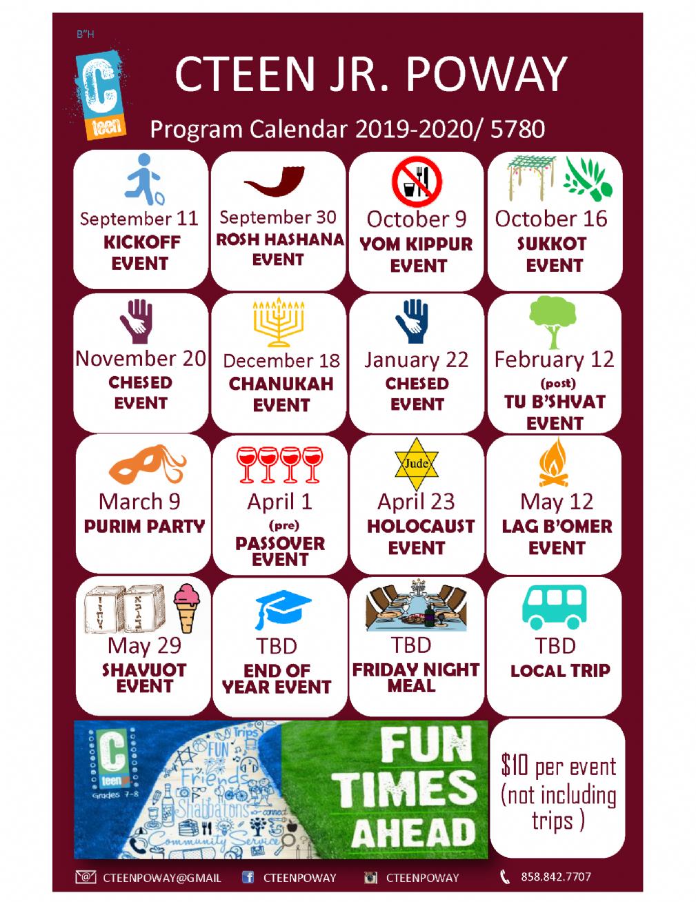 Passover 2020 Calendar.Cteen Jr Calendar 2019 20 Chabad Of Poway