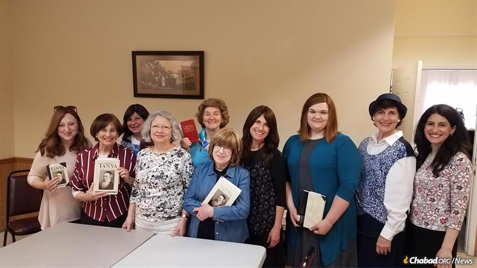 Women in Chicago completed the weekly study of Tanya, a project that began in December 2013 when Jodi Sohl, third from left, brought the idea of a Tanya class to Rabbi Baruch Epstein of Lubavitch-Chabad of Illinois.