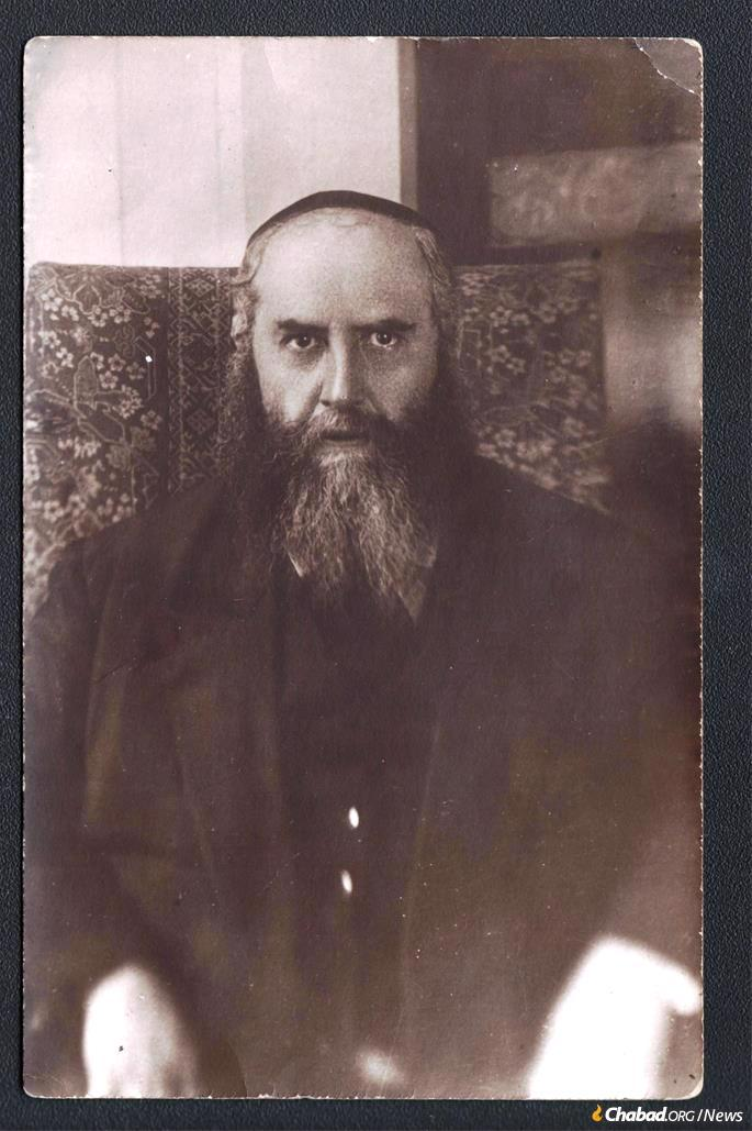 Another version of the portrait of Rabbi Yosef Yitzchak, this one originating with the Marozov family in Leningrad. The reverse bears a stamp from a photo studio located around the corner from the Rebbe's home and synagogue at Mochovaya 22, and the photo was smuggled out of the Soviet Union in 1946. (Courtesy: Rabbi Sholom Ber Chaikin)