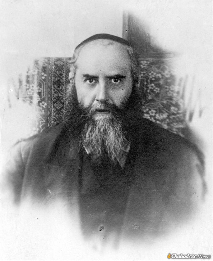The Sixth Rebbe, Rabbi Yosef Yitzchak Schneersohn, in 1927, around the time he left the Soviet Union for the last time. A version of this photo would remain behind and appear abroad as well.