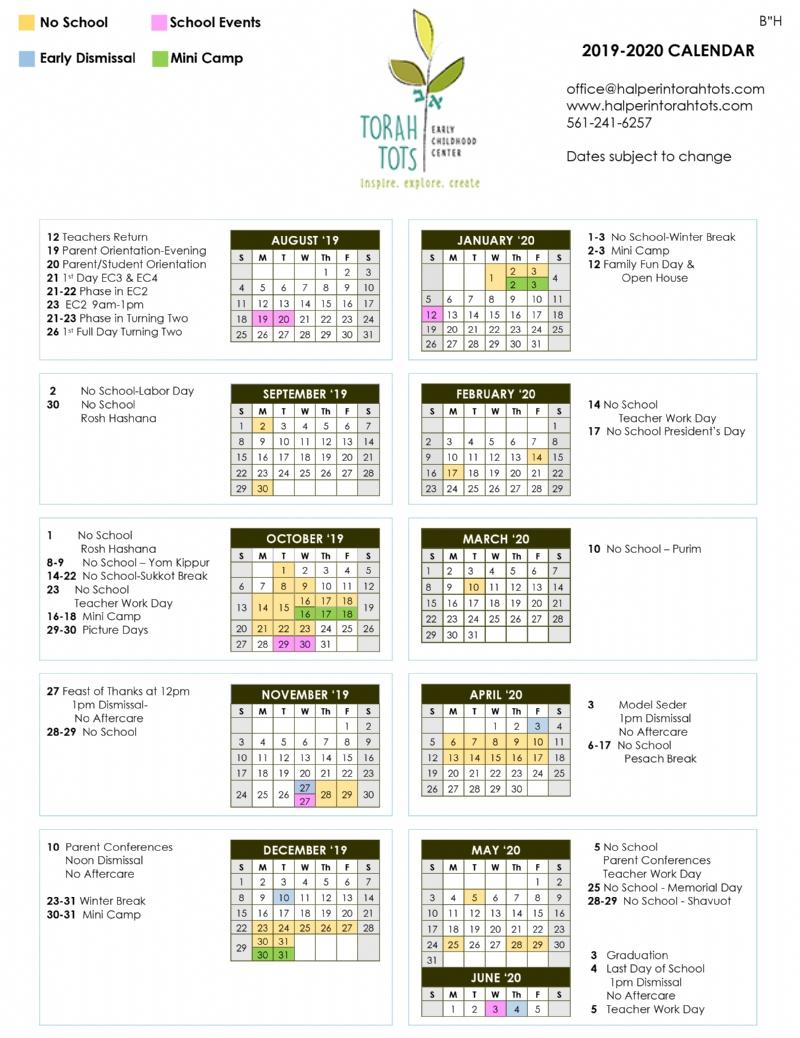 Torah Calendar.Calendar The Maurice A Halperin Torah Tots Early Childhood Center