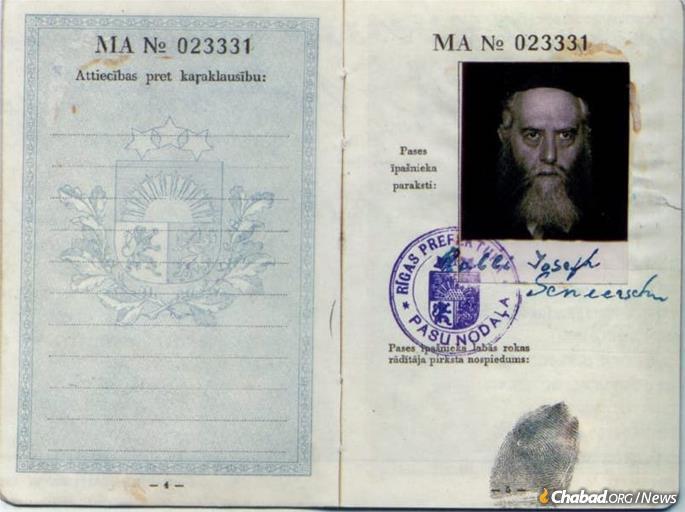 The portrait Rabbi Meir Chaim Chaikin had in Tbilisi of the Rebbe appears on Rabbi Yosef Yitzchak's Latvian passport, issued in 1934.