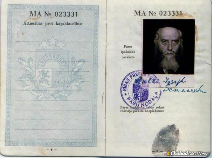 The portrait Rabbi Meir Chaim Chaikin had in Tbilisi of the Rebbe appears on Rabbi Yosef Yitzchak's Latvian passport, issued in 1934.