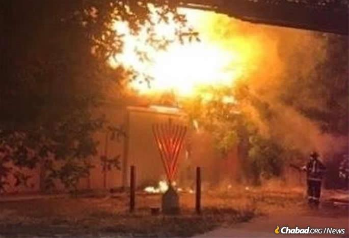 A suspicious fire that began outside of the Chabad center in Pleasanton, Calif., incinerated the back half of the building.