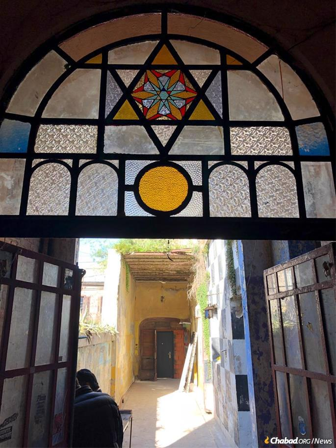 Remaining stained glass in the synagogue's interior. An entire renovation is being planned.