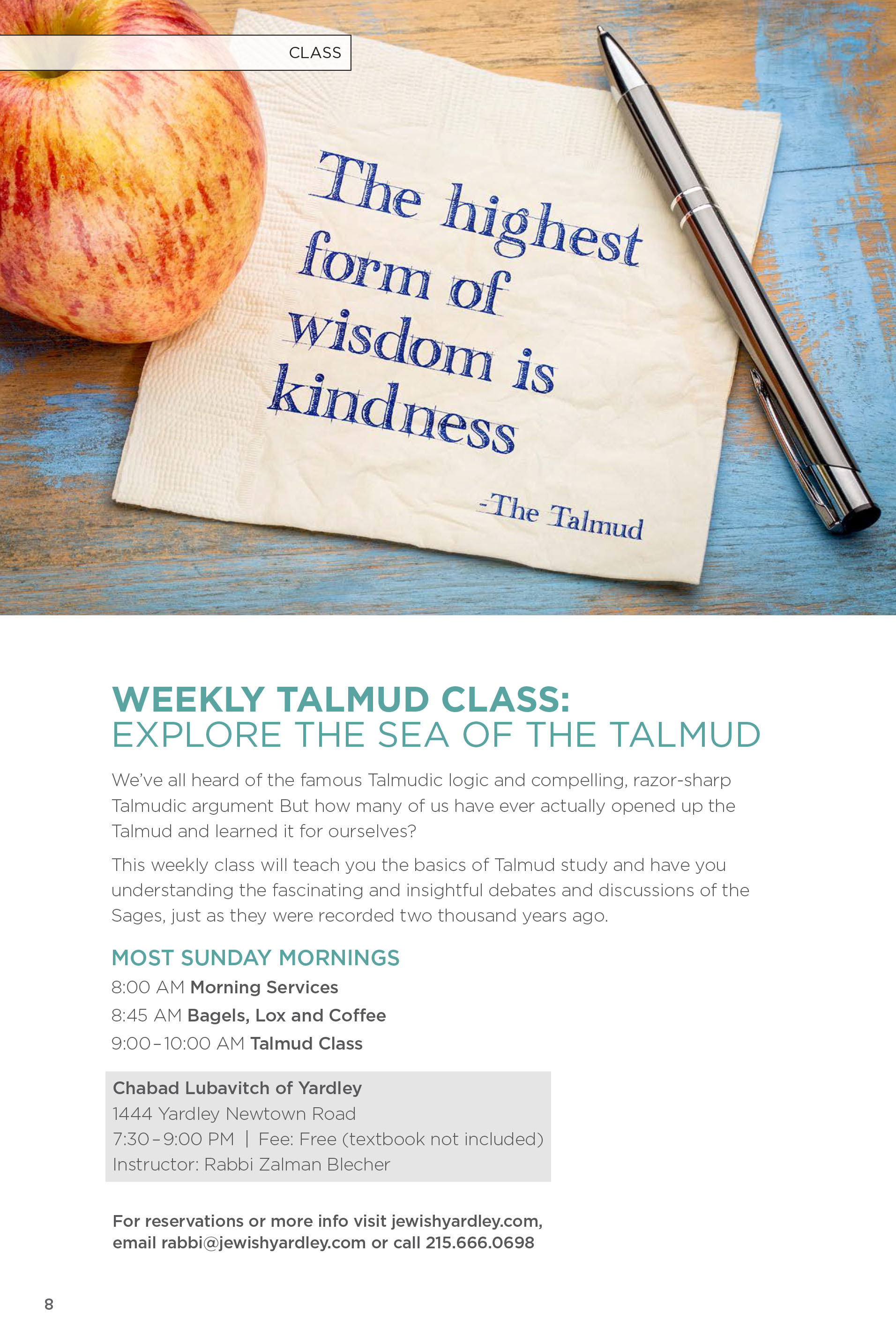 Weekly Talmud Class