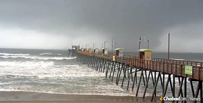 A giant waterspout approaches Wilmington, N.C., which was badly hit one year ago by Hurricane Florence.