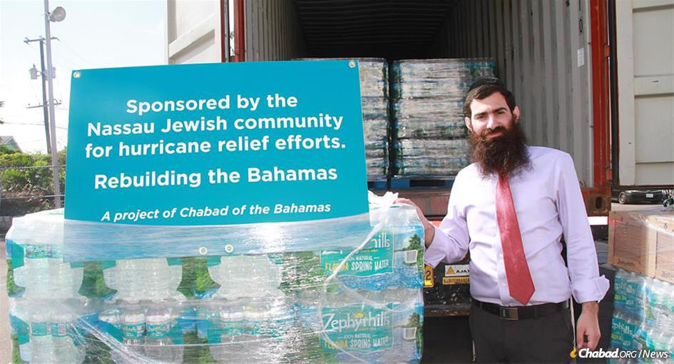 Rabbi Sholom Bluming is helping coordinate Jewish relief efforts and aid in the Bahamas.
