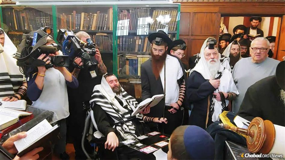 Rabbi Yitzi Hurwitz at his son's bar mitzvah in the Rebbe's study in the Crown Heights neighborhood of Brooklyn, N.Y.