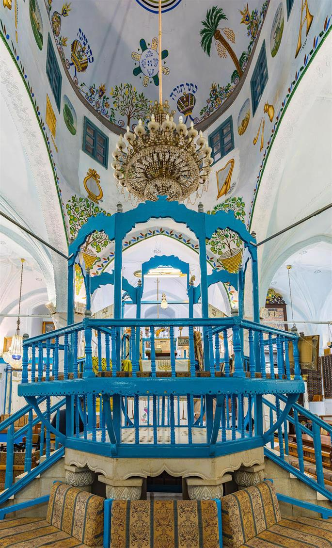 Interior of the iconic 15th-century, Spanish-style Abuhav synagogue.