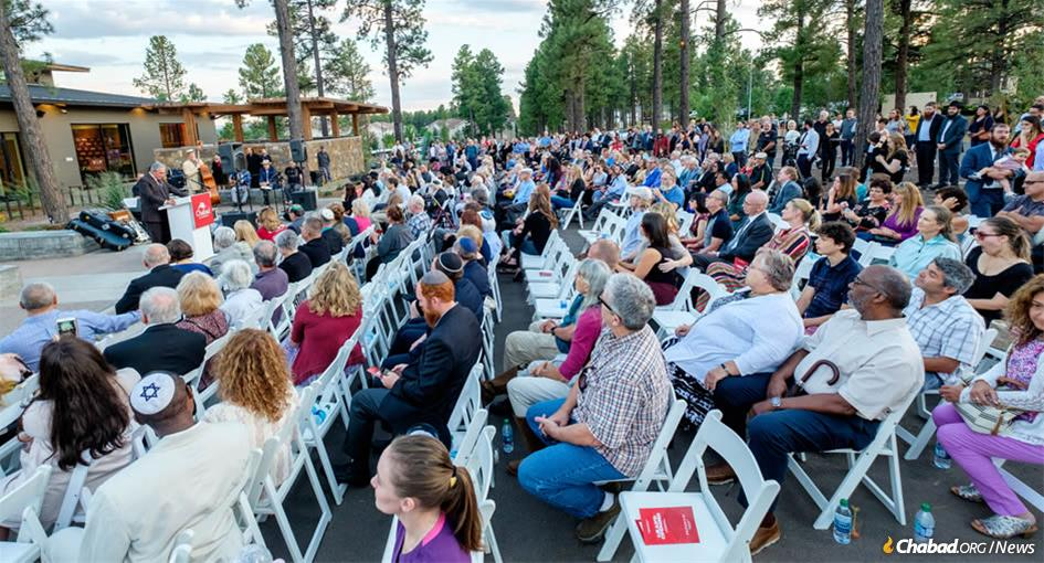 Hundreds of people of all ages gathered to celebrate the grand opening of Chabad of Flagstaff's new center.