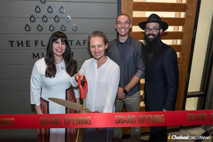 Dr. Evgenya Shkolnik at the dedication of the new Flagstaff mikvah, joined by Chaya Shapiro, Aaron Dragushan and Rabbi Dovie Shapiro