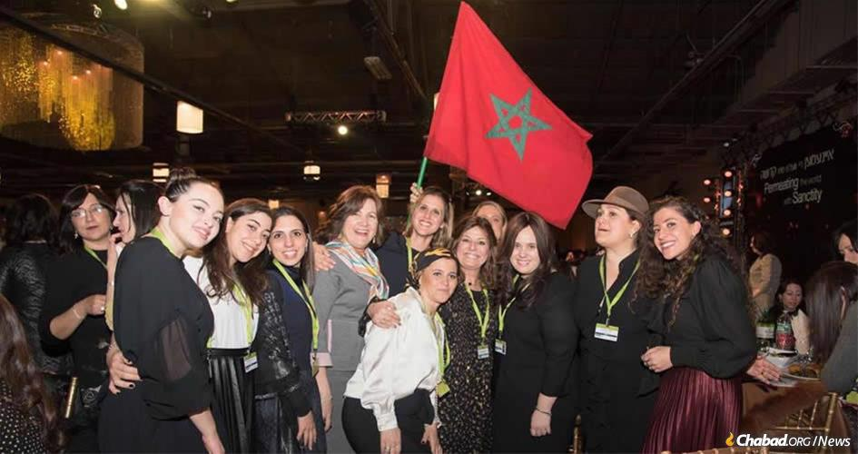 Chana Banon, co-director of Chabad of Casablanca, third from right, with a delegation of women from Morocco at the International Conference of Chabad Women Emissaries. (Photo: Kinus.com)