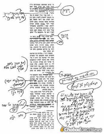 Once a team of scholars constructed an essay, the Rebbe would spend hours editing their work before sending it back for a second round. Seen here is a page of the Rebbe's edits on the sicha of Parshat Baahalotecha 1974, including the addition of an entire section (se'if) in his own handwriting. This talk appears in Likutei Sichot, volume 13, page 26. (Photo: Rabbi Leibel Schapiro via A Chassidishe Derher magazine)