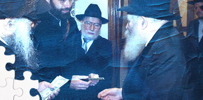 Cantor Malovany requesting a blessing for his son from the Rebbe (JEM / The Living Archive).