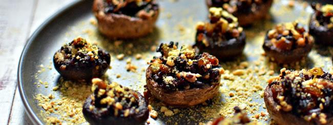 Cogumelos Recheados com Arroz Preto Vegano
