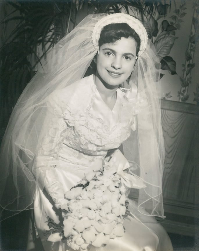 Mrs. Sara Feigelstock at her wedding, 1948.