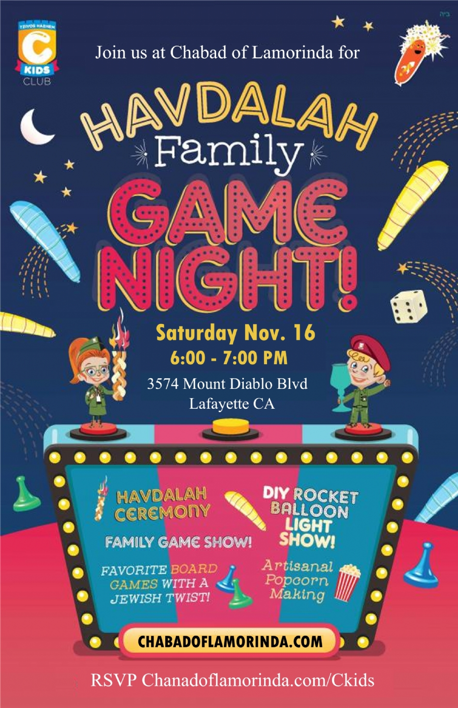 Havdalah Game Night Family Chabad Of Lamorinda