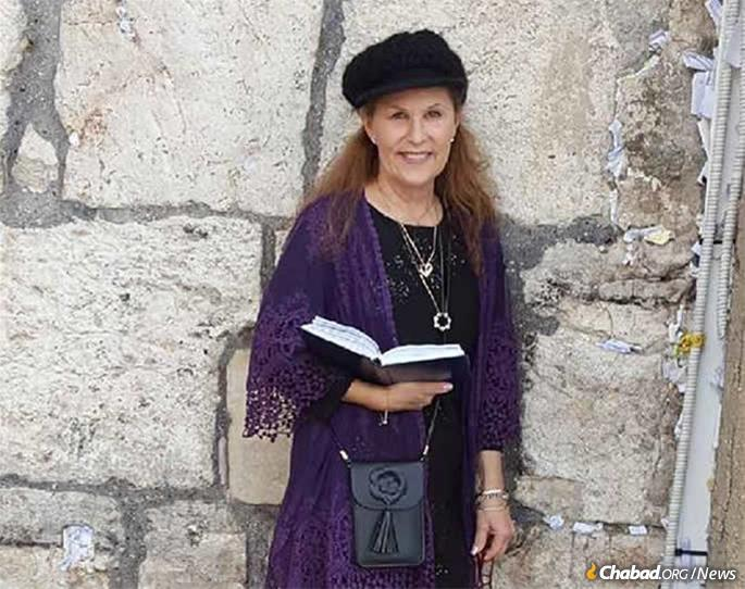 Lori Gilbert-Kaye at the Western Wall in Jerusalem. Murdered during Passover services, a street in the city of Poway, Calif., has been named in her memory.