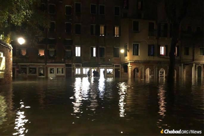 The scene outside Chabad of Venice earlier in the week.