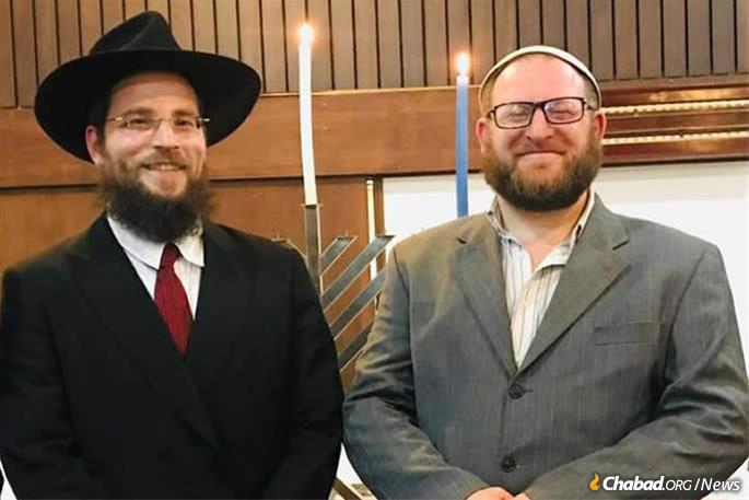 Rabbi Mendy Goldstein, director of Chabad of New Zealand, with Rabbi Tal