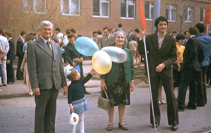 With my grandparents at the World War II annual Victory Parade on May 9th.