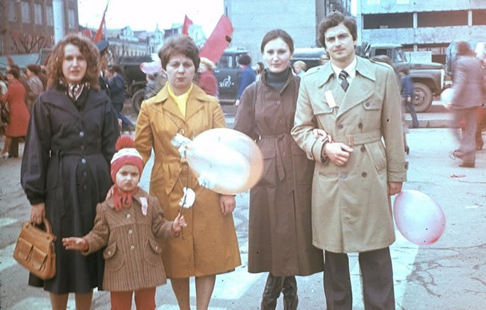 With my mom and her coworkers at a mandatory May 1st Communist parade.