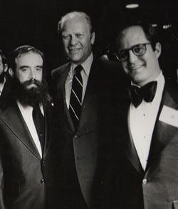 President Ford poses with Rabbi Abraham Shemtov and Philanthropist Mr. Ronny Perlman.