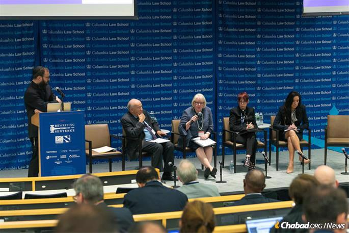 """A judicial panel at the Aleph Institute's Rewriting the Sentence summit in June 2019. The panel, titled """"Judicial Practices: Creative Approaches to Sentencing,"""" featured, seated from left: Judge Fredric Block, U.S. District Judge, Eastern District of New York; Judge Virginia Phillips, chief U.S. District Judge, Central District of California; Judge Brooke Wells, U.S. Magistrate Judge, District of Utah; and Judge Esther Salas, U.S. District Judge, District of New Jersey. It was moderated by Rabbi Yossi Bryski, director of Aleph's alternative sentencing division. (Photo: Meir Pliskin/Aleph Institute)"""