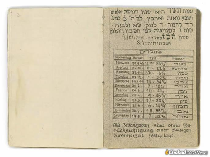 A teacher, cantor and artist in the small German town of Schweinfurt, Rabbi Asher Berlinger composed while imprisoned in Theresienstadt ghetto Jewish calendars for the years 5704 (1943-44) and 5705 (1944-45). Like many prisoners, he and his wife, Breindel, were deported to and murdered in Auschwitz. (Courtesy of the Yad Vashem Museum)