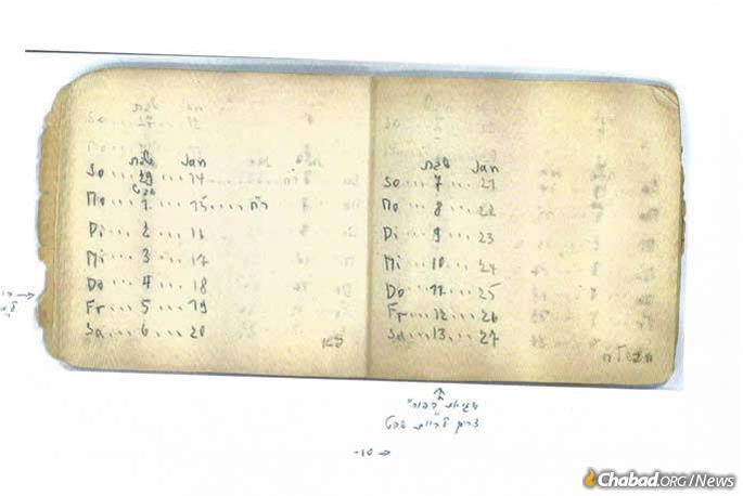 Deported to Auschwitz at the age of 19, Sophie Sohlberg was assigned to one of the work details catering to the needs of the SS. Having been schooled by a master teacher in Munich in making a Jewish calendar, she composed one for 5704 (1943-44) and one for 5705 (1944-45). (Courtesy of Sophie Sohlberg)