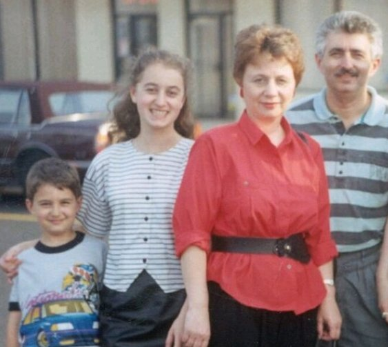 I am with my parents, Naum and Olga, and my brother Ilya in early 1991 in Northeast Philadelphia where many Russian immigrants settled.