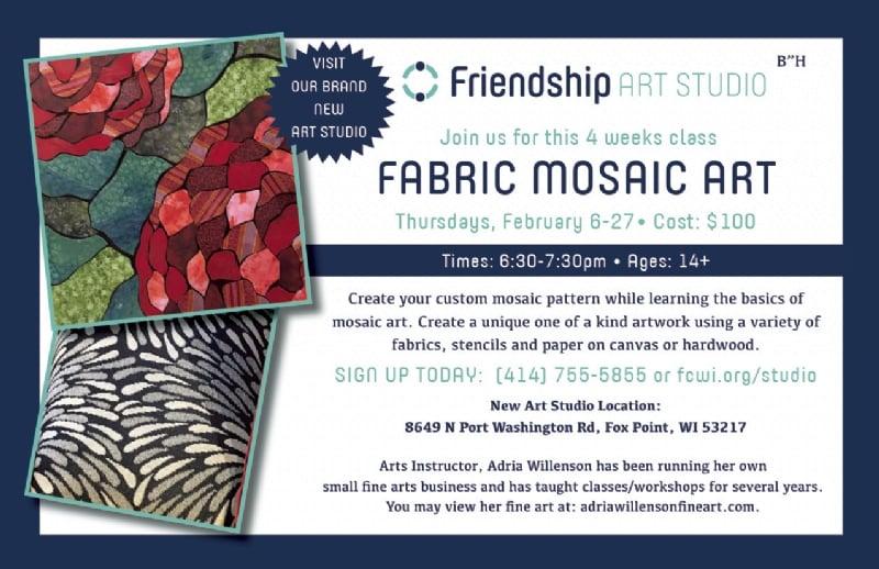 Friendship Art Studio Classes Fabric Mosaic Art