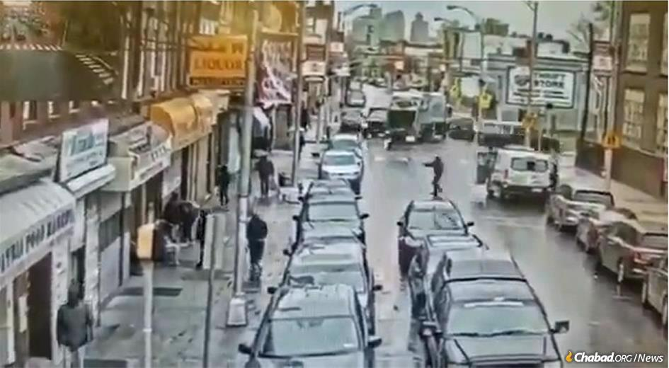 An anti-Semitic gunman, center right, shoots at a kosher grocery store in Jersey City, N.J.