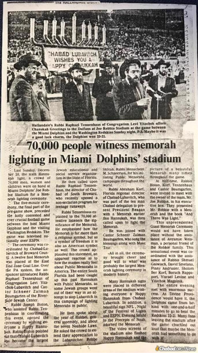 A local newspaper covered the menorah-lighting at the Miami Dolphins game.
