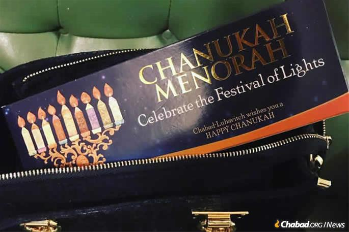Young Jewish adults around the world were busy over the past month giving out menorahs to friends, family and co-workers who did not have one.