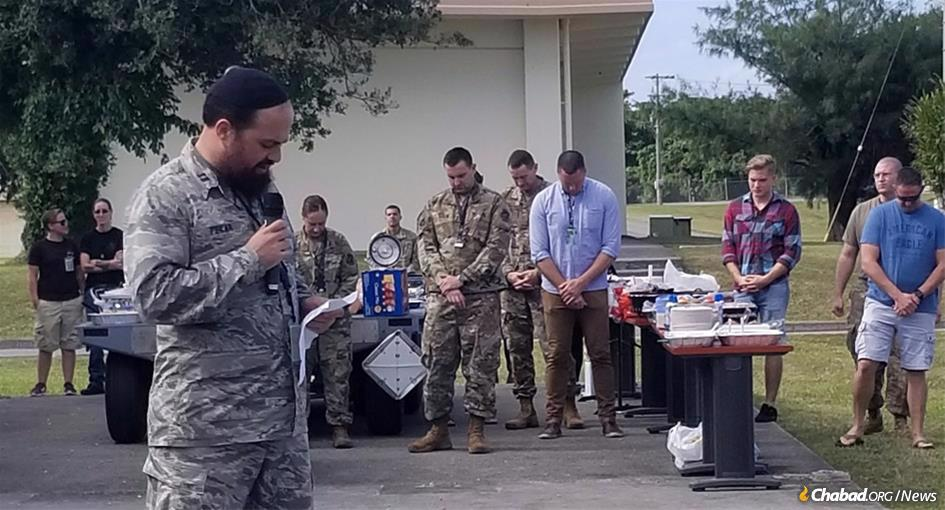 Chaplain Levy Pekar, left, a U.S. Air Force Captain, will host Chanukah for about 100 stationed at Kadena Air Base in Okinawa, a small island off the coast of Japan.