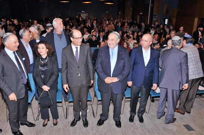 Dignitaries at Sunday's Chanukah event.