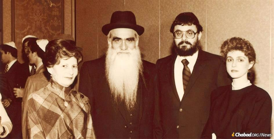 From left: Sonia and Rabbi Moshe Binyomin Kaplan, with their children Rabbi Shmuel and Rochel Kaplan